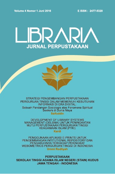 Libraria: Jurnal Perpustakaan